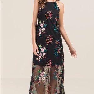 Francesca's collection maxi floral black dress